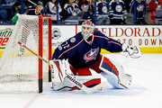 Sergei Bobrovsky #72 of the Columbus Blue Jackets warms up prior to the start of the game against the New York Rangers on January 7, 2017 at Nationwide Arena in Columbus, Ohio.