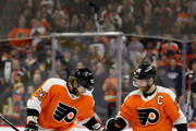 Jakub Voracek #93 of the Philadelphia Flyers celebrates with teammate Claude Giroux #28 after scoring a second period goal against the New York Rangers at Wells Fargo Center on March 22, 2018 in Philadelphia, Pennsylvania.