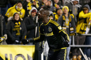 Kei Kamara #23 of the Columbus Crew SC celebrates after defeating the New York Red Bulls 2-0 on November 22, 2015 at MAPFRE Stadium in Columbus, Ohio.
