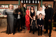 """This image has been digitally altered) (L-R) Danielle Macdonald, Lil Rel Howery, Colson Baker, Sandra Bullock, Susanne Bier, Vivien Blair, Julian Edwards, Rosa Salazar, and Trevante Rhodes attend the New York Special Screening Of The Netflix Film """"BIRD BOX"""" at Alice Tully Hall on December 17, 2018 in New York City."""