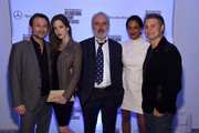 (L-R) Christian Slater,  Brittany Lopez,  Francesco Bonami, Vanessa Riding and Jason Binn attend the Speaker Dinner presented by Mercedes-Benz during The New York Times International Luxury Conference at the Moore Building on December 1, 2014 in Miami, Florida.