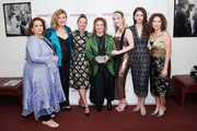 "(L-R) NYWIFT Executive Director Cynthia Lopez, actor Caroline Aaron, makeup artist Patricia Regan, costume designer Donna Zakowska, actor Rachel Brosnahan, actor Marin Hinkle and NYWIFT Board of Directors President Simone Pero attend the New York Women in Film and Television's ""Designing Women Awards"" at the DGA on June 11, 2019 in New York City."
