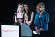 "(L-R) Actors Rachel Brosnahan, Marin Hinkle and Caroline Aaron on stage during the New York Women in Film and Television's ""Designing Women Awards"" at the DGA on June 11, 2019 in New York City."