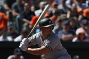Matt Holliday #17 of the New York Yankees bats against the Baltimore Orioles at Oriole Park at Camden Yards on April 9, 2017 in Baltimore, Maryland.