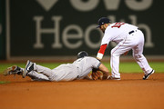 Dustin Pedroia #15 of the Boston Red Sox tags out Matt Holliday #17 of the New York Yankees at second base in the sixth inning of a game at Fenway Park on April 27, 2017 in Boston, Massachusetts.