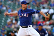 Doug Fister #38 of the Texas Rangers delivers a pitch against the New York Yankees in the first inning of a baseball game at Globe Life Park in Arlington on May 23, 2018 in Arlington, Texas.