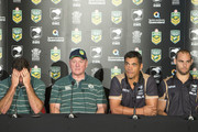 (L-R) Australia captain Cameron Smith and coach Tim Sheens sit alongside New Zealand coach Stephen Kearney and captain Simon Mannering at a press conference ahead of the international Test match during a press conference at Suncorp Stadium on April 30, 2015 in Brisbane, Australia.