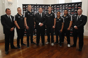 (L-R) Assistant coach Ian Foster, Sam Cane, Brodie Retallick, head coach Steve Hansen, Luke Romano, Aaron Smith Ben Tameifuna and selector Grant Fox pose for a photo during the New Zealand All Blacks squad anouncement on June 3, 2012 in Auckland, New Zealand.