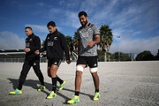 (L-R) Sonny Bill Wiliams, Rieko Ioane and Akira Ioane of the All Blacks arrive for a New Zealand All Blacks training session at Auckland Blues HQ on May 22, 2018 in Auckland, New Zealand.