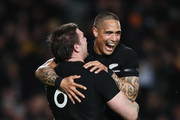 Liam Squire of the All Blacks celebrates after scoring a try with Aaron Smith during The Rugby Championship game between the New Zealand All Blacks and the Australia Wallabies at Eden Park on August 25, 2018 in Auckland, New Zealand.