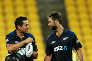 Ross Taylor and Grant Elliott of New Zealand leave the field after winning the One Day International match between New Zealand and Pakistan at Westpac Stadium on January 31, 2015 in Wellington, New Zealand.