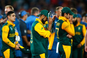 Imran Tahir of South Africa shows his dejection following the 2015 Cricket World Cup Semi Final match between New Zealand and South Africa at Eden Park on March 24, 2015 in Auckland, New Zealand.