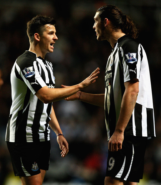 Joey Barton and Andy Caroll of Newcastle talk during the Barclays Premier League match between Newcastle United and Blackburn Rovers at St James' Park on November 10, 2010 in Newcastle upon Tyne, England.