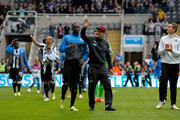 NEWCASTLE, ENGLAND-  May 03: Hatem Ben Arfa , (C) of Newcastle celebrates with team mates after the Barclays Premier League match between Newcastle United and Cardiff City at St. James'  Park on May 03, 2014  in Newcastle upon Tyne, England.