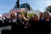 Newcastle United fans protest against chairman Mike Ashley prior to the Premier League match between Newcastle United and Leicester City at St. James Park on September 29, 2018 in Newcastle upon Tyne, United Kingdom.