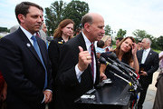 U.S. Rep. Louie Gohmert (R-TX) (C) speaks to the media as National Coordinators of the Tea Party Movement, Mark Meckler (L) and Jenny Beth Martin (2nd L), and U.S. Rep. Michele Bachmann (R-MN) (R) look on after the first meeting of the newly formed Tea Party Caucus on Capitol Hill July 21, 2010 in Washington, DC.  About two dozens of congressional members met with Tea Party members to discuss the party's concerns about the nation.