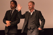 (L-R) Irrfan Khan and Ben Foster attend the INFERNO World Premiere Red Carpet at the Opera di Firenze on October 8, 2016 in Florence, Italy.