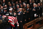 President Donald Trump, first lady Melania Trump and former presidents, vice presidents, first ladies and spouses attend the state funeral for former President George H.W. Bush at the National Cathedral December 05, 2018 in Washington, DC. A WWII combat veteran, Bush served as a member of Congress from Texas, ambassador to the United Nations, director of the CIA, vice president and 41st president of the United States.