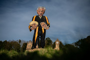 The Edenbridge Bonfire Society's 2019 'Celebrity Guy', Speaker of the House of Commons John Bercow, is erected after initially breaking during the unveiling on October 30, 2019 in Edenbridge, England. The 11 meter tall effigy, created by artist Andrea Deans, depicts Mr Bercow holding the heads of British Prime Minister Boris Johnson and Labour Party leader Jeremy Corbyn. It will be set on fire on November 2 as part of bonfire night celebrations.