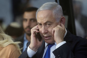Israeli Prime Minister Benjamin Netanyahu speaks on the phone during an event marking the anniversary of the 1929 killing of 67 Jews by Palestinian rioters, on September 04, 2019 in Hebron, West Bank. Netanyahu is visiting Hebron ahead of Israel's elections on September 17th.