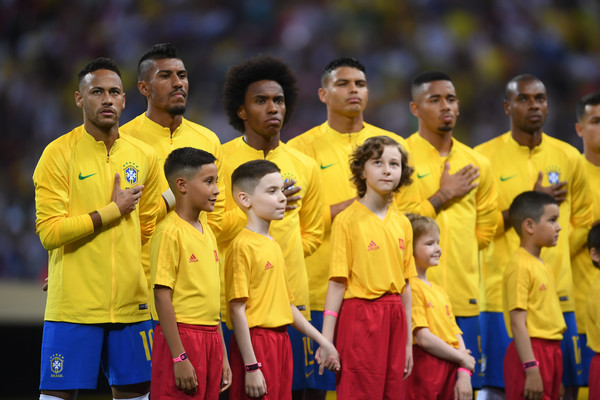 Brazil vs. Belgium: Quarter Final - 2018 FIFA World Cup Russia [team,player,team sport,sports,yellow,soccer player,championship,ball game,uniform,tournament,players,anthem,russia,belgium,kazan arena,brazil,quarter final - 2018 fifa world cup,match,2018 fifa world cup]