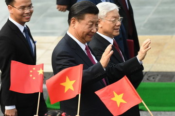 Nguyen Phu Trong Chinese Leader Xi Jinping Meets His Vietnamese Counterpart in Hanoi