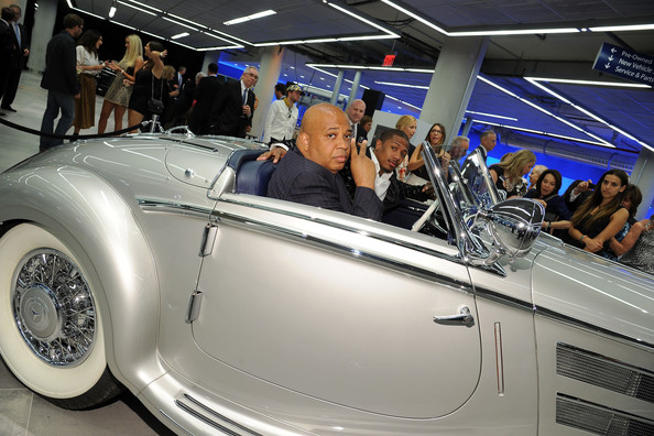The Gala Opening Of The New Mercedes-Benz Manhattan [land vehicle,vehicle,car,vintage car,classic,antique car,classic car,auto show,coup\u00e9,convertible,nick cannon,rev run,merceses-benz manhattan,new york city,mercedes-benz manhattan,mercedes-benz,gala opening,gala opening]