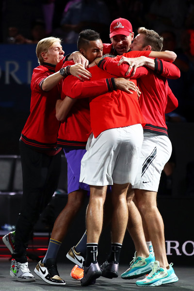 Laver Cup 2019 - Day 3 [singles,competition event,championship,team,tournament,sports,muscle,player,footwear,event,games,taylor fritz of team world,players,teammates,dominic thiem,match point,rest,team europe,palexpo,laver cup]