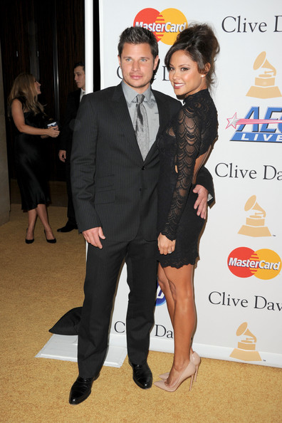 Nick Lachey (EXCLUSIVE COVERAGE) Singer Nick Lachey (L) and Vanessa Minnilo arrive at the 2011 Pre-GRAMMY Gala and Salute To Industry Icons Honoring David Geffen at Beverly Hilton on February 12, 2011 in Beverly Hills, California.