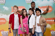 (L-R) TV Personalities Thomas Kuc, Madisyn Shipman, Cree Cicchino, Kel Mitchell, and Benjamin Flores Jr. attend Nickelodeon's 2016 Kids' Choice Awards at The Forum on March 12, 2016 in Inglewood, California.