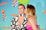 (L-R) Jodie Sweetin and Candace Cameron Bure attend Nickelodeon's 2019 Kids' Choice Awards at Galen Center on March 23, 2019 in Los Angeles, California.