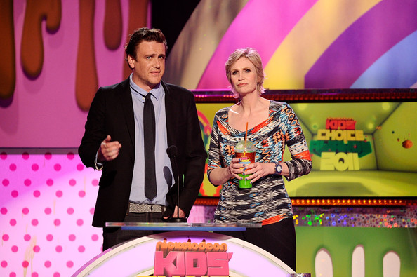 Actors Jason Segel and Jane Lynch onstage during Nickelodeon's 24th Annual Kids' Choice Awards at Galen Center on April 2, 2011 in Los Angeles, California.