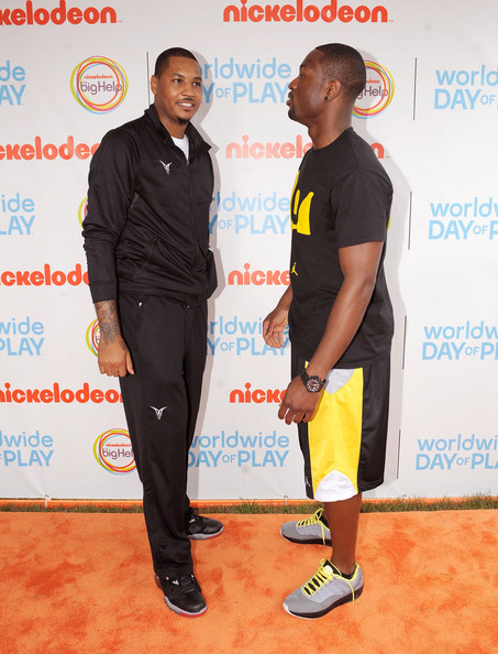 NBA Players Carmelo Anthony and Dwyane Wade celebrate Nickelodeon's largest ever Worldwide Day of Play at the Ellipse on September 24, 2011 in Washington, DC.