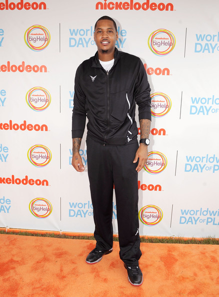 NBA Player Carmelo Anthony celebrates Nickelodeon's largest ever Worldwide Day of Play at the Ellipse on September 24, 2011 in Washington, DC.