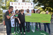 (L-R) DJ J Boogie, President, Greater Los Angeles Zoo Association Connie Morgan, actors Amber Montana, Sydney Park, Curtis Harris, Jack Griffo, Ryan Newman, Kira Kosarin and David Bruson with Nickelodeon Public Affairs speak at Nickelodeon Get Dirty Earth Day at Los Angeles Zoo on March 9, 2014 in Los Angeles, California.