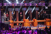 (L-R) Victoria Justice, Jack Griffo, Carlos PenaVega, Kira Kosarin, Leon Thomas III, Sydney Park and Matt Bennett appear onstage at the Sixth Annual Nickelodeon HALO Awards in New York City. The hour-long concert special will premiere Sunday, Nov. 30, at 7 p.m. (ET/PT) across Nickelodeon networks (Nickelodeon, TeenNick, Nicktoons).