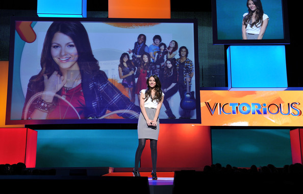 Actress Victoria Justice speaks onstage at the 2010 Nickelodeon Upfront Presentation at Hammerstein Ballroom on March 11, 2010 in New York City.