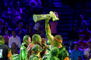 Laurie Hernandez, P. K. Subban, David Dobrik, Rob Gronkowski, Trae Young, host Michael Strahan, Shaun White, and Kel Mitchell react after being slimed onstage during onstage during Nickelodeon Kids' Choice Sports 2019 at Barker Hangar on July 11, 2019 in Santa Monica, California.