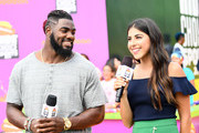 NFL player Landon Collins and actor Daniella Monet attend Nickelodeon Kids' Choice Sports Awards 2017 at Pauley Pavilion on July 13, 2017 in Los Angeles, California.