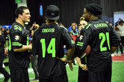 NFL players  Luke Kuechly and Stefon Diggs, actor Ricardo Hurtado and former NFL player Deion Sanders attend the Superstar Slime Showdown taping at at the Super Bowl Experience on February 1, 2018 in Minneapolis, Minnesota.