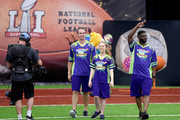 (L-R) NFL player Drew Brees, actor Jade Pettyjohn, and NFL player LaDainian Tomlinson at the taping of Nickelodeon's Superstar Slime Showdown at Super Bowl in Houston, Texas, premiering Sunday, Feb. 5, at 12pm (ET/PT).