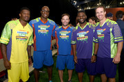 (L-R) NFL players Andre Johnson, DeMarcus Ware, Wes Welker, LaDainian Tomlinson, and Drew Brees at the taping of Nickelodeon's Superstar Slime Showdown at Super Bowl in Houston, Texas, premiering Sunday, Feb. 5, at 12pm (ET/PT).