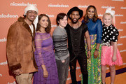 (L-R) Nick Cannon, Kat Graham, Josh Brener, Brandon Mychal Smith, Yolanda Adams, and JoJo Siwa attend the Nickelodeon Upfront 2018 at Palace Theatre on March 6, 2018 in New York City.