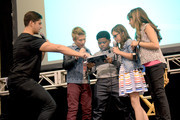 """(L-R) Viner superstar Josh Peck and the cast of Nickelodeon's Game Shakers, Thomas Kuc, Benjamin """"Lil P-Nut"""" Flores Jr., Madisyn Shipman, and Cree Cicchino speak onstage at VidCon on July 25, 2015 in Anaheim, California. New live-action comedy series set to premiere Saturday, Sept. 12 at 8:30pm (ET/PT)"""