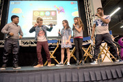 """(L-R) Cast of Nickelodeon's Game Shakers, Benjamin """"Lil P-Nut"""" Flores Jr., Thomas Kuc, Madisyn Shipman, Cree Cicchino, and Kel Mitchell speak onstage at VidCon on July 25, 2015 in Anaheim, California. New live-action comedy series set to premiere Saturday, Sept. 12 at 8:30pm (ET/PT)"""