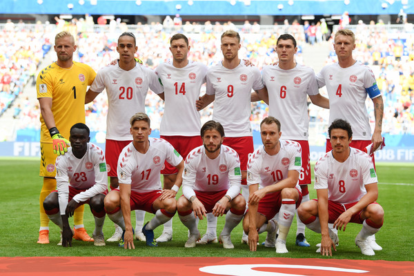 Denmark vs. Australia: Group C - 2018 FIFA World Cup Russia [team photo,team,team sport,social group,player,soccer player,football player,sport venue,sports,ball game,competition event,players,russia,samara arena,australia,denmark,australia: group c - 2018 fifa world cup,group c match,2018 fifa world cup]
