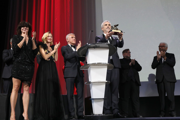 Award Ceremony - 75th Venice Film Festival [event,performance,performing arts,music,stage,award,talent show,concert,singing,alfonso cuaron,sala grande,venice,italy,golden lion for best film award for roma,award ceremony,venice film festival]