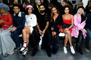 Soki Mak, Kyle De'Volle, Kari Marni, Amir Amor, Jade Thirwall, Kara Marni and Alice Chater attend the Nicopanda FW18 LFW Show during London Fashion Week February 2018 at TopShop Show Space on February 19, 2018 in London, England.