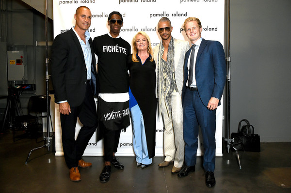 Pamella Roland - Backstage - September 2019 - New York Fashion Wee [the shows,event,fashion,design,team,suit,formal wear,white-collar worker,fashion design,new york fashion wee,pamella roland,jay manuel,nigel barker,miss j,cole devos,l-r,pamella roland - backstage,new york city]
