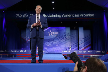 Nigel Farage Leading Conservatives Gather For Annual CPAC Event In National Harbor, Maryland